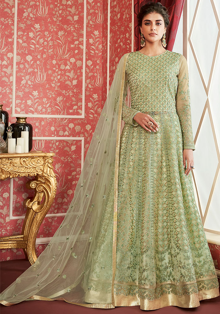 GreenEmbroidered Anarkali