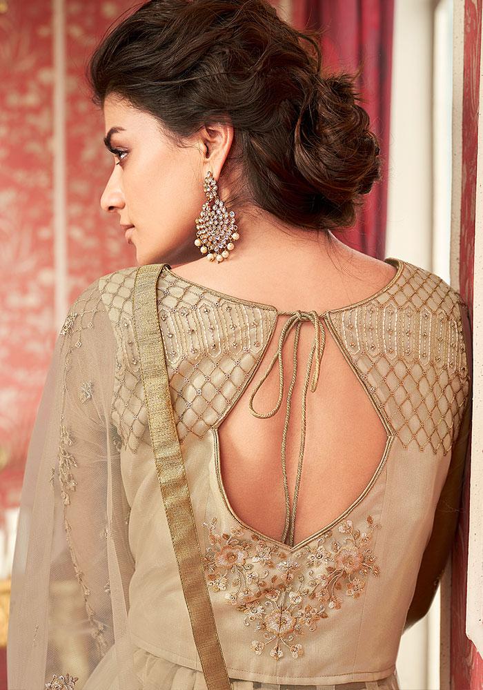 Beige Embroidered Anarkali