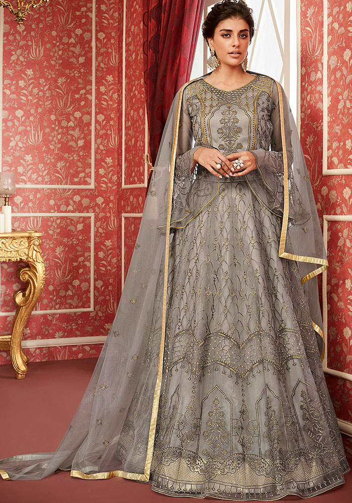 Grey Embroidered Anarkali