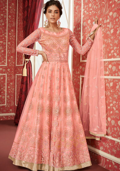 Light PinkEmbroidered Anarkali