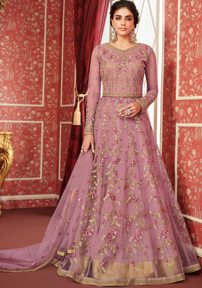 Purple Embroidered Anarkali