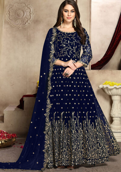 Blue Embroidered Georgette Anarkali suit