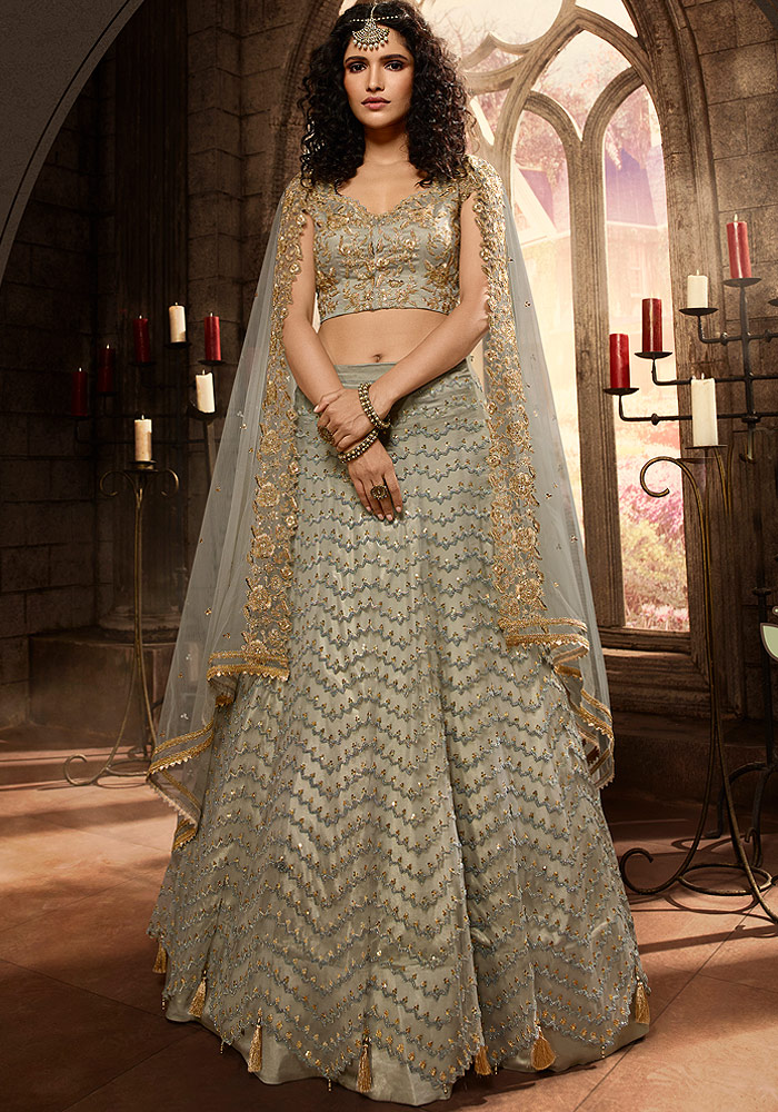 Grey Heavy Embroidered Lehenga