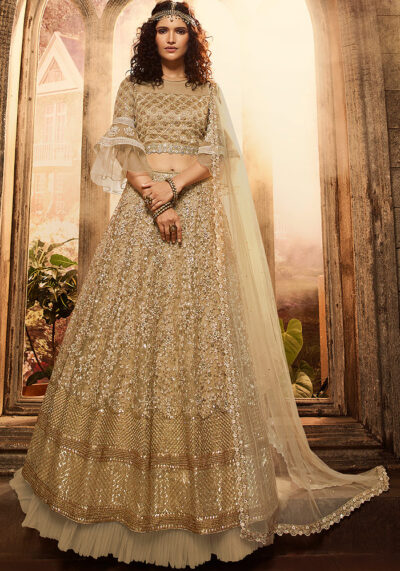 Beige Heavy Embroidered Lehenga