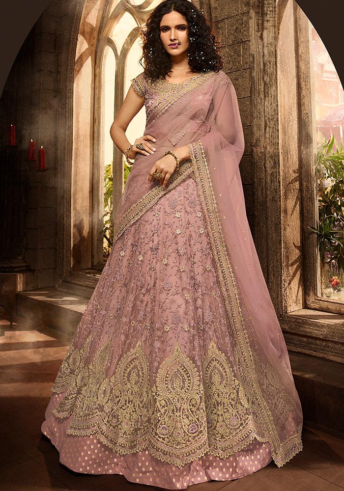 Light Purple Heavy Embroidered Lehenga