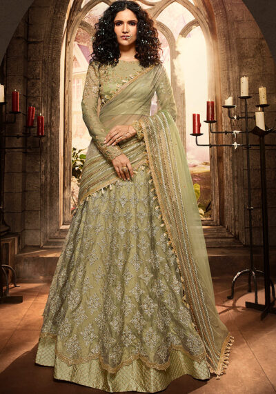 Green Heavy Embroidered Lehenga