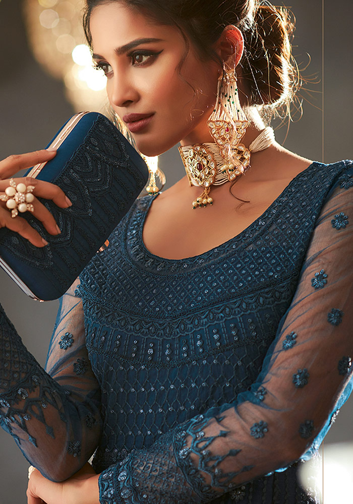 Teal Heavy embroidered Net Anarkali Suit