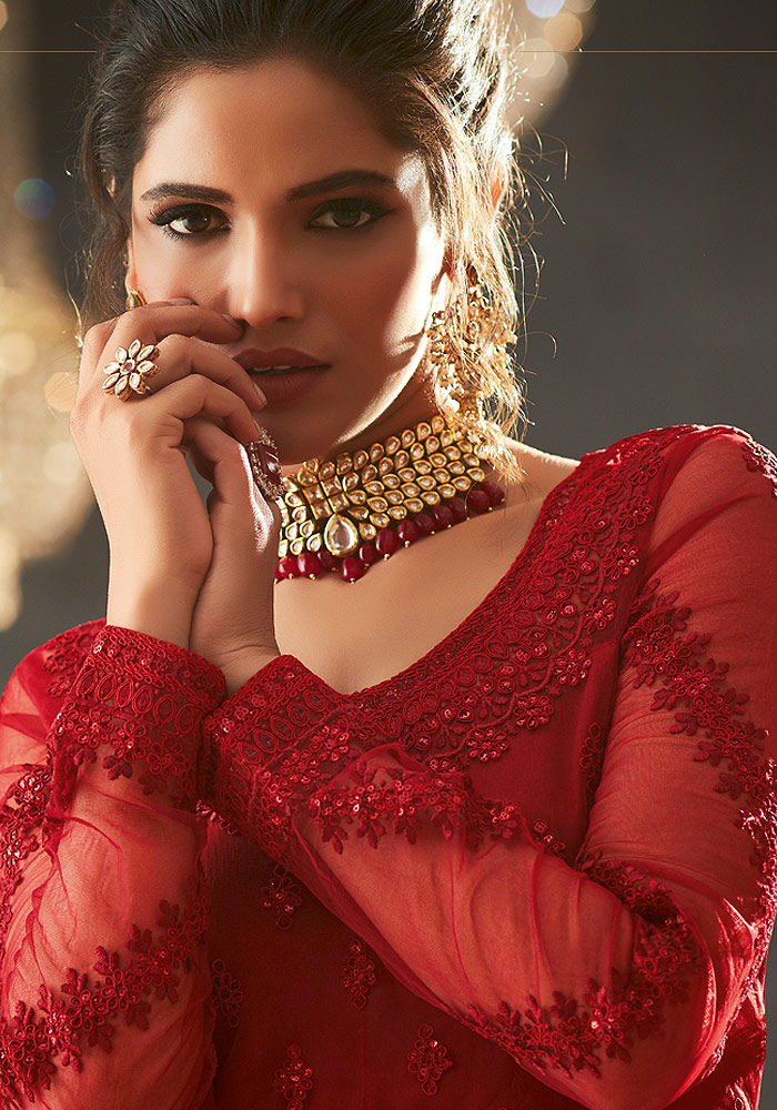 Red Heavy embroidered Net Anarkali Suit