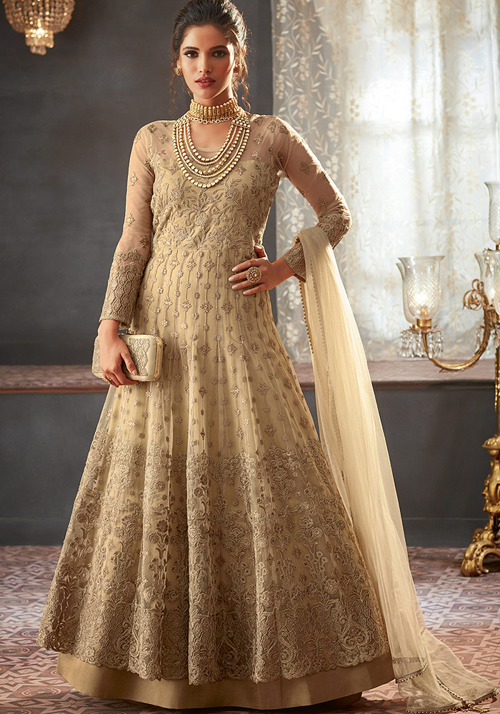 Light Beige Heavy embroidered Net Anarkali Suit