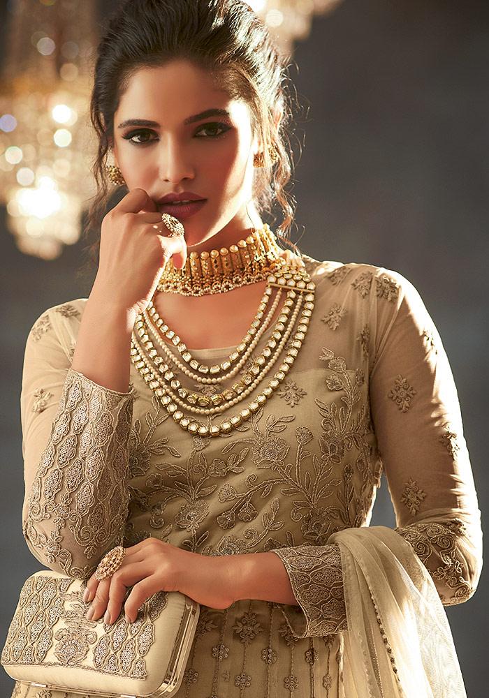Light Beige Heavy embroidered Net Anarkali Suit