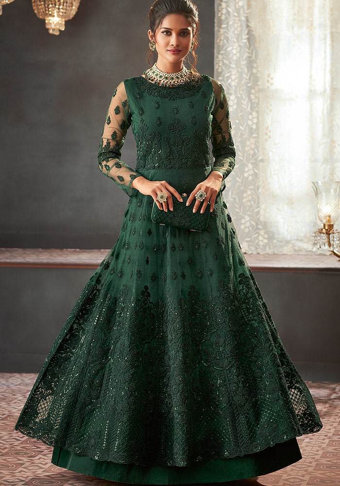 Green Heavy embroidered Net Anarkali Suit