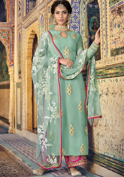 Glacier and Golden Embroidered Salwar Kameez