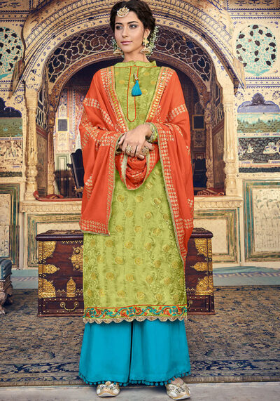 Parrot Green and Golden Embroidered Salwar Kameez