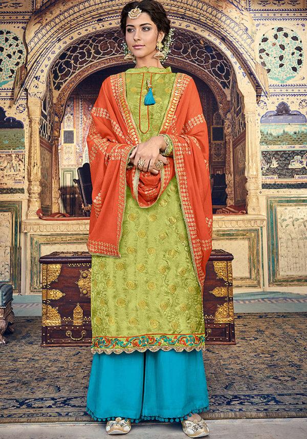 Parrot Green and Golden Embroidered Salwar Kameez