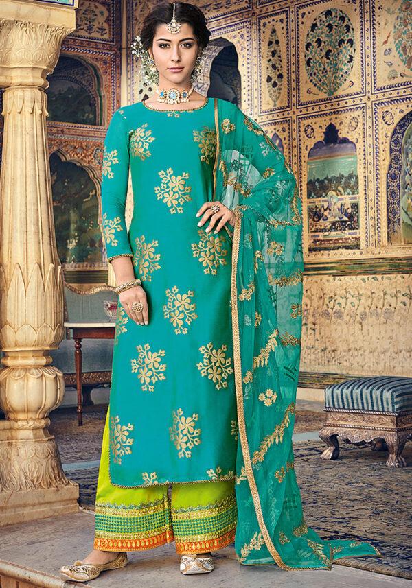Turquoise Blue and Golden Embroidered Salwar Kameez