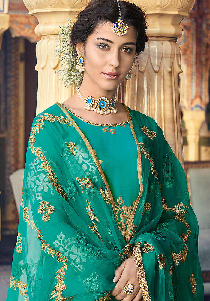 Turquoise Blue and Golden Embroidered Salwar Kameez