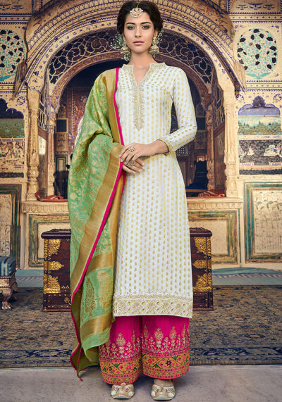 White and Golden Embroidered Salwar Kameez