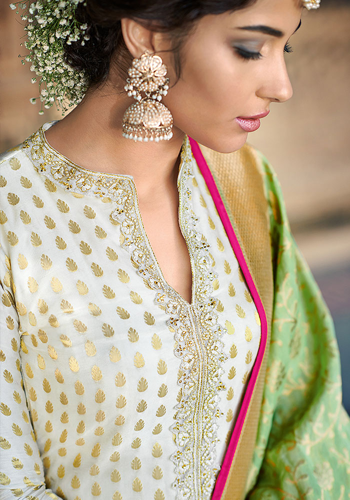 White and Golden Embroidered Salwar Kameez