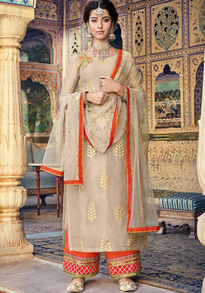 Mocha and Golden Embroidered Salwar Kameez