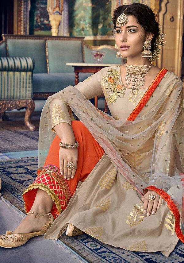 Mocha and Golden Embroidered Salwar Kameez