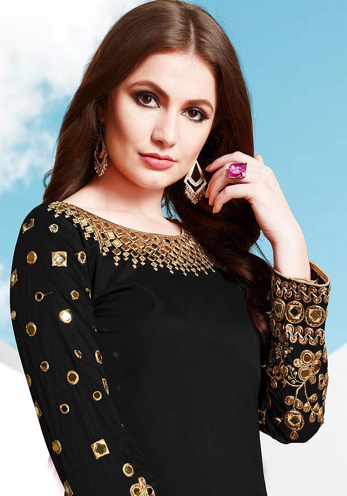 Black Embroidered Silk Punjabi Suit