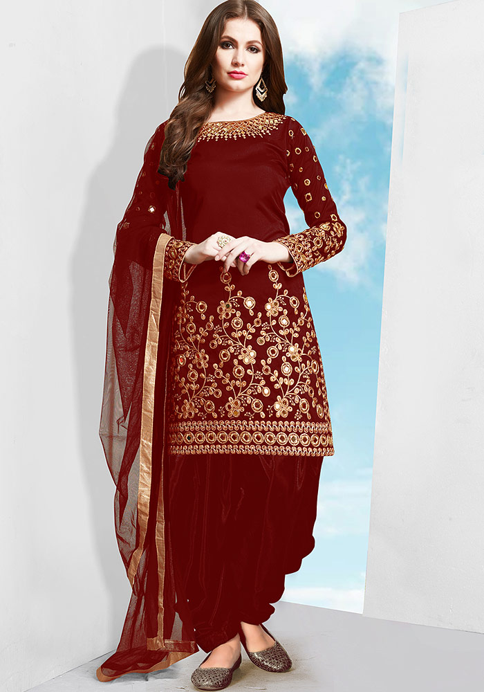 Red Embroidered Silk Punjabi Suit