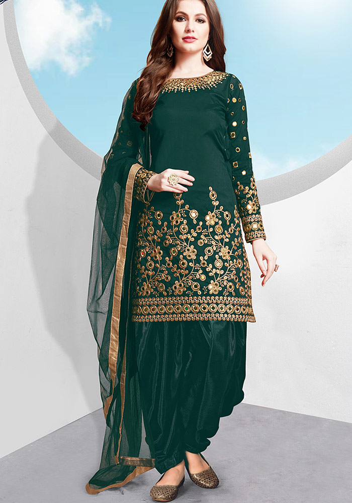 Teal Embroidered Silk Punjabi Suit