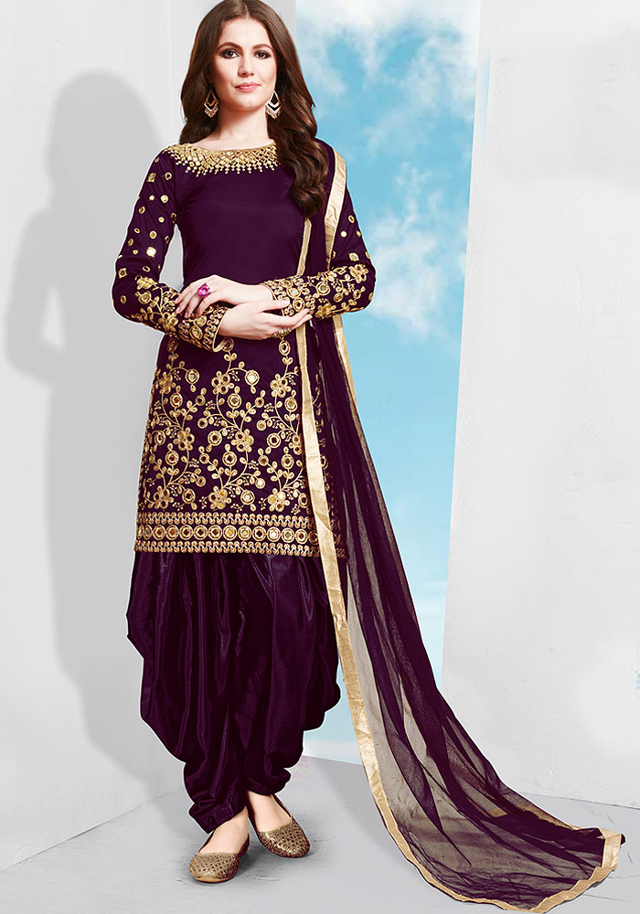 Purple Embroidered Silk Punjabi Suit