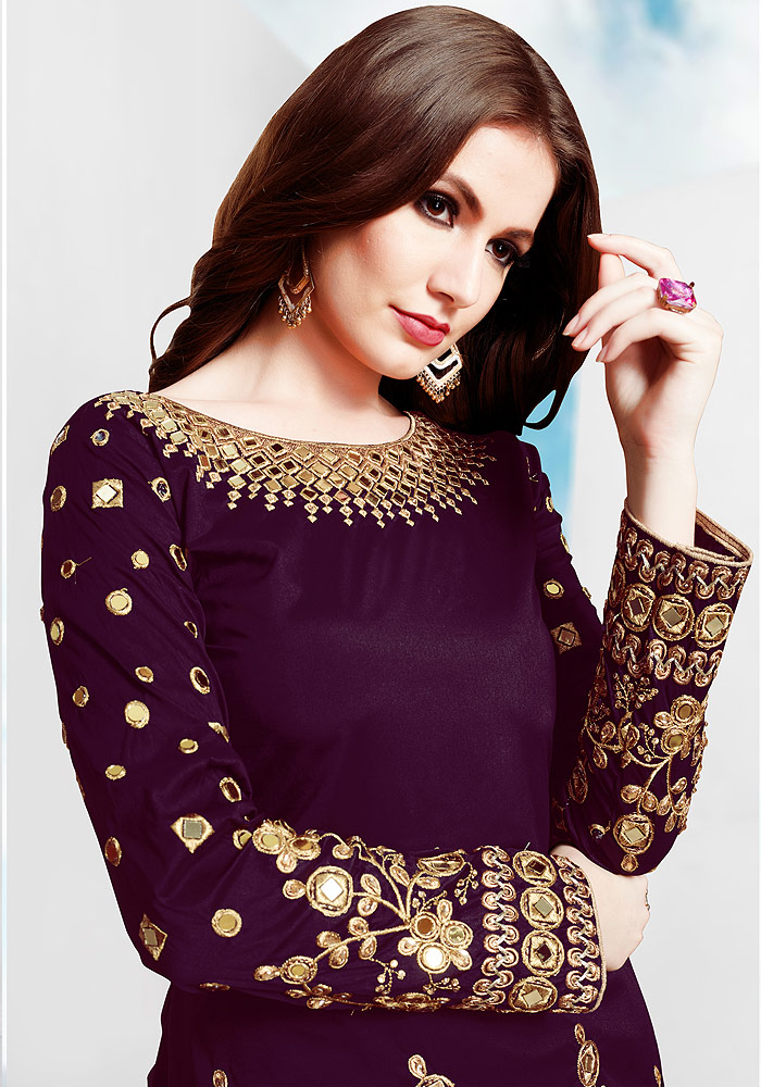 Purple Embroidered Silk Punjabi Suit