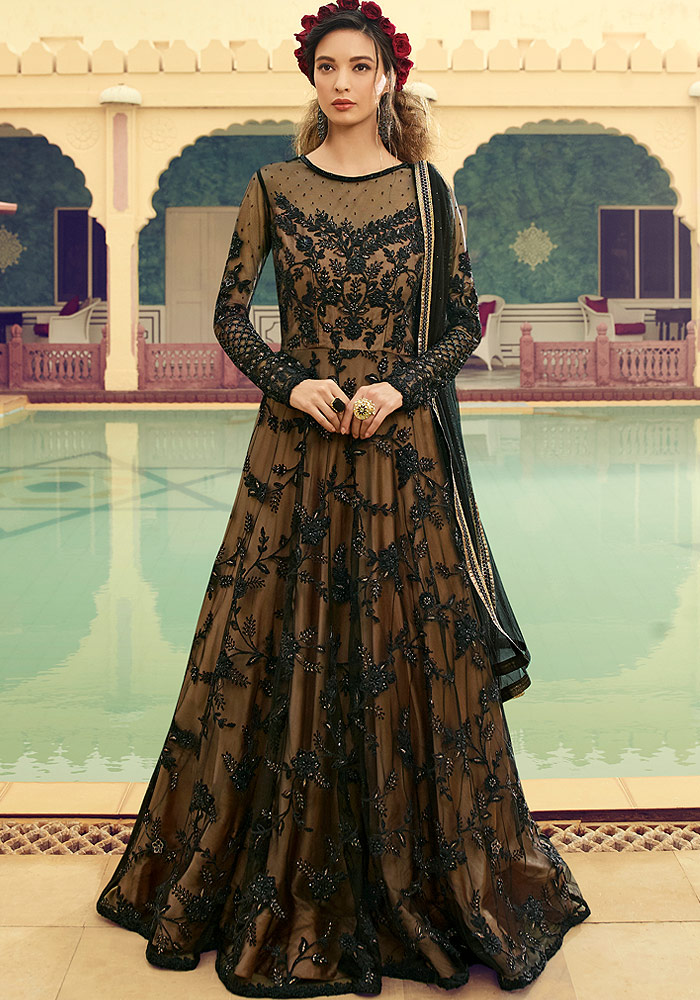 Black and Beige Embroidered Net Anarkali Suit