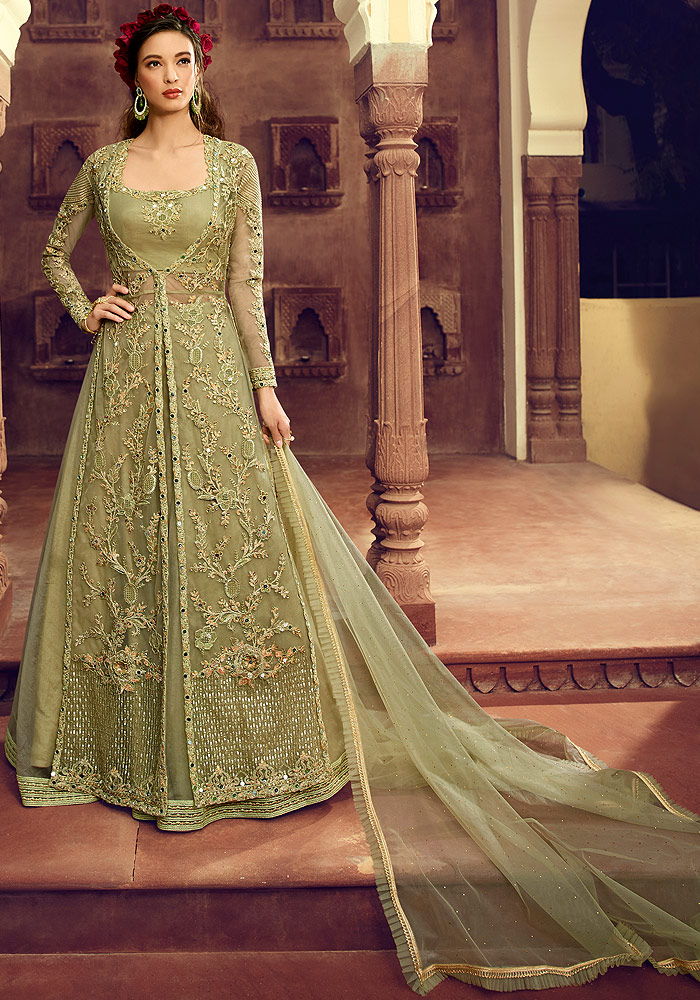 Green and Gold Net Embroidered Suit