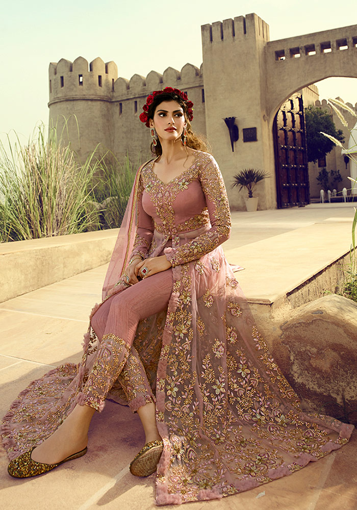 Pink Embroidered Embroidered Net Suit