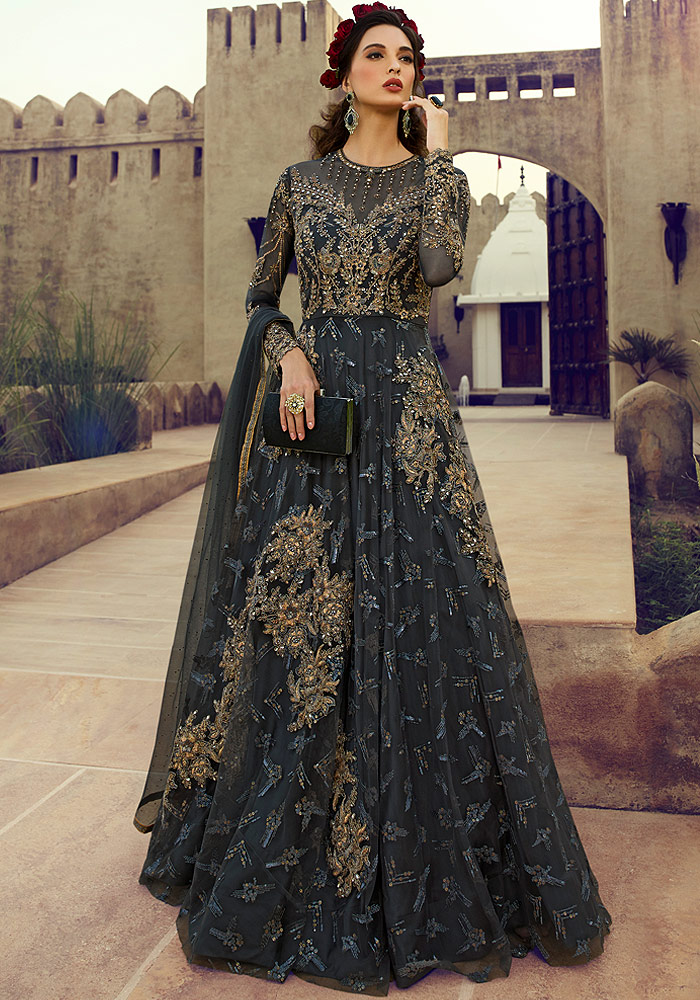 Charcol Grey Embroidered Net Anarkali Suit