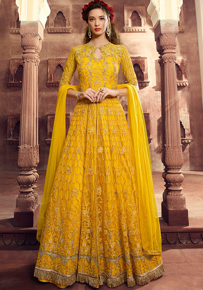 Yellow Embroidered Net Suit