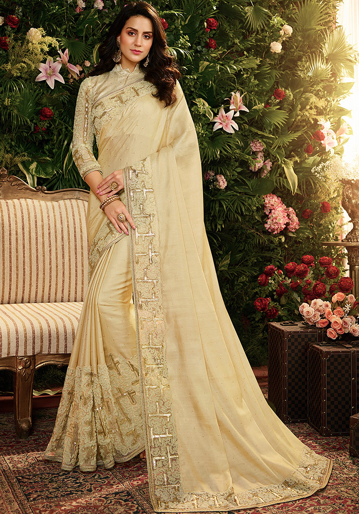 Cream Embroidered Saree