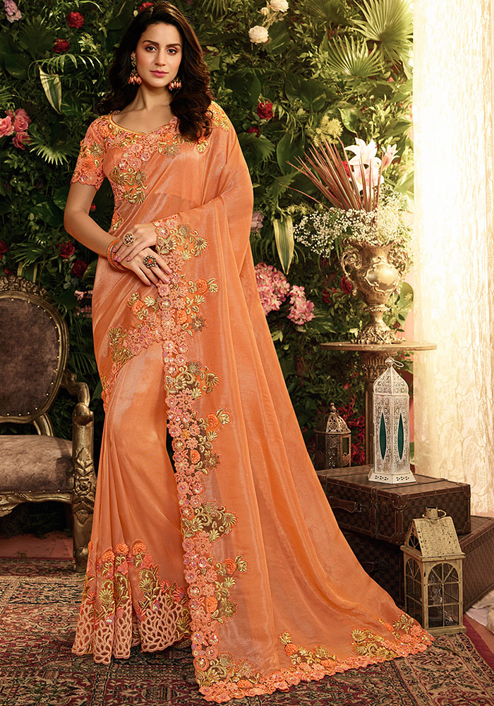 Orange Floral Embroidered Saree