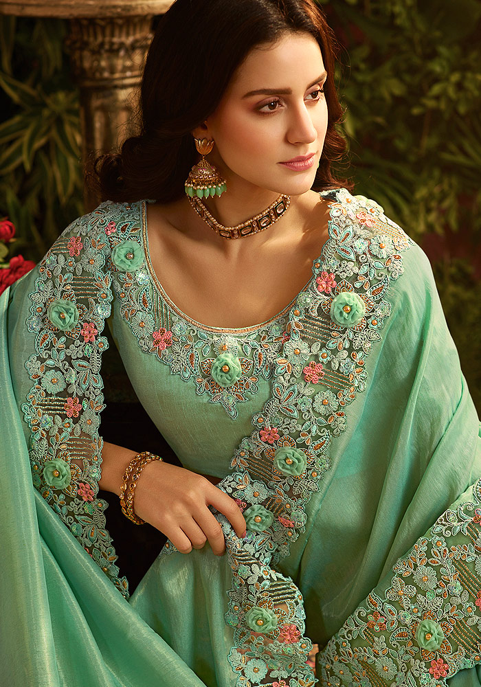 Mint Green Floral Embroidered Saree
