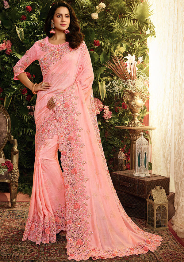 Pink Floral Embroidered Saree