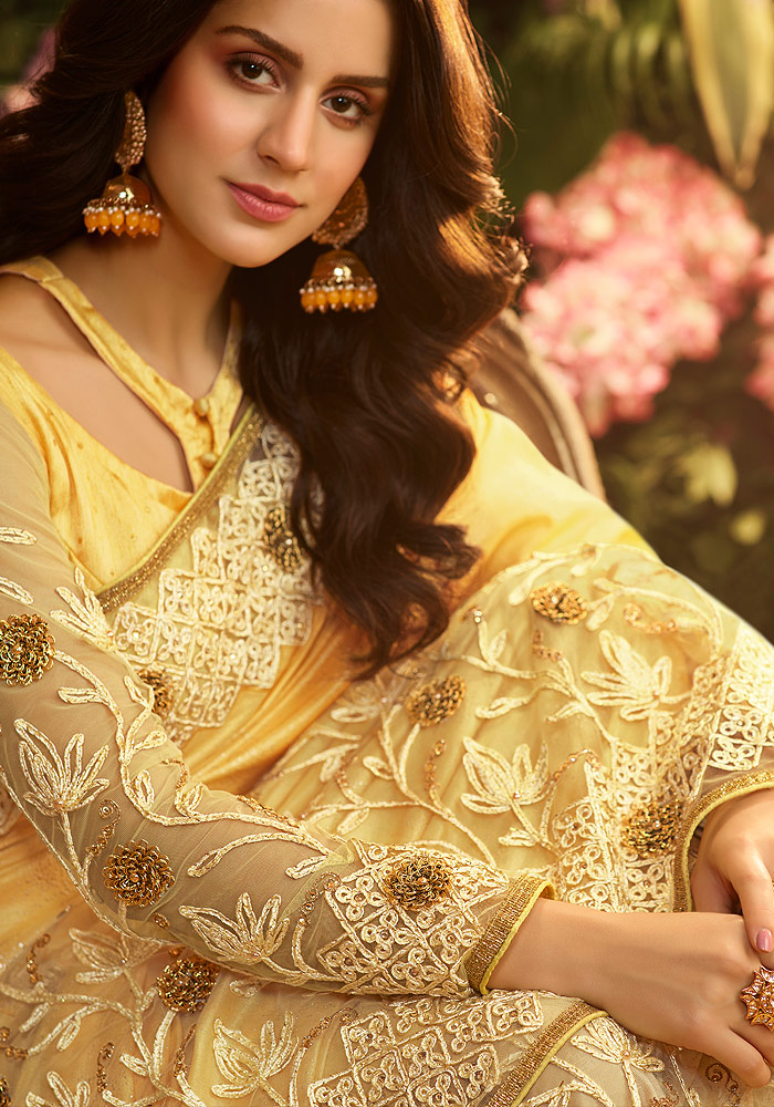 Yellow Floral Embroidered Saree