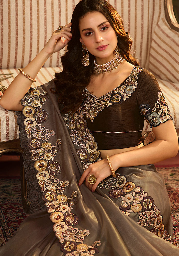 Grey Floral Embroidered Saree