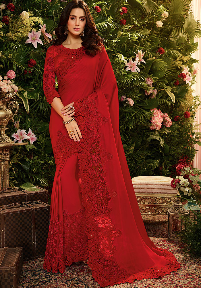 Red Floral Embroidered Saree
