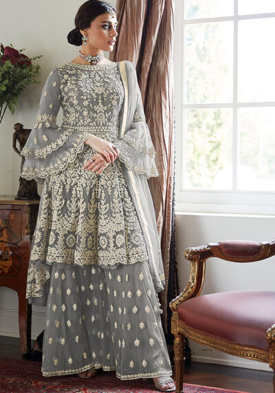 Grey Embroidered Net Sharara Suit