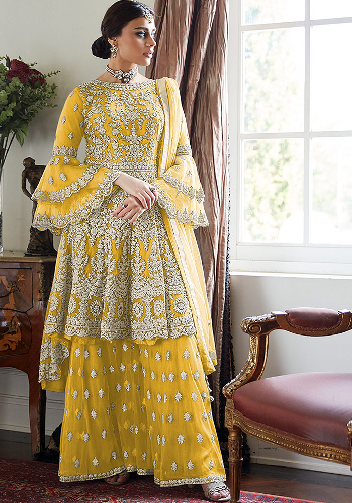 Yellow Embroidered Net Sharara Suit