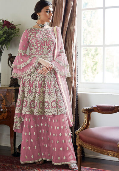 Pink Embroidered Net Sharara Suit