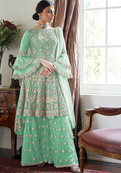 Green Embroidered Net Sharara Suit