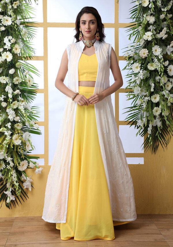 Yellow Embroidered Jacket Style Lehenga