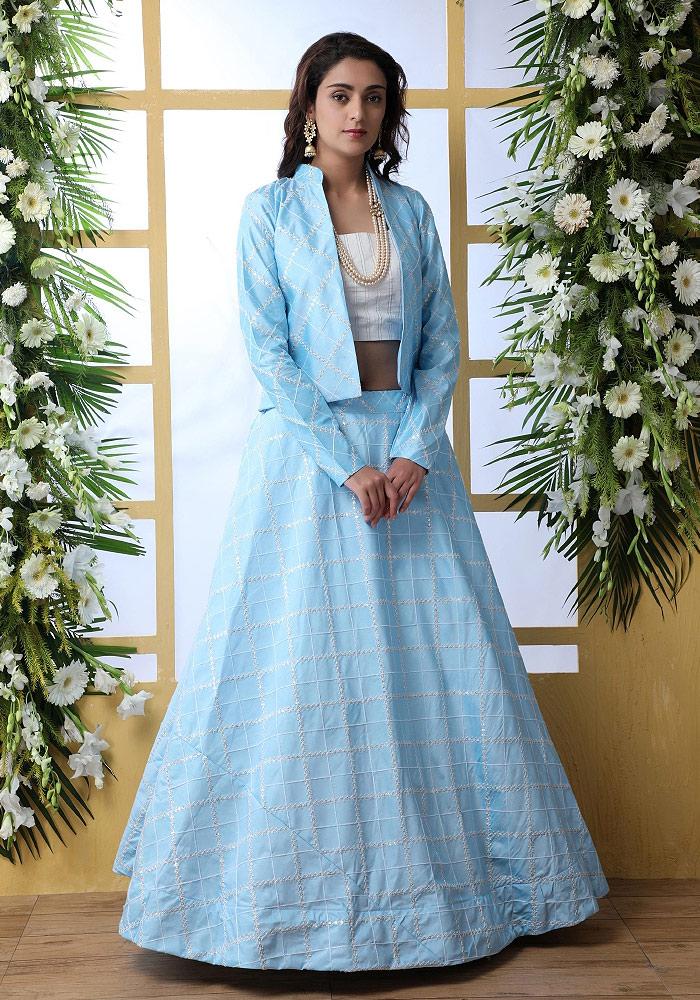 Sky Blue Embroidered Jacket Style Lehenga