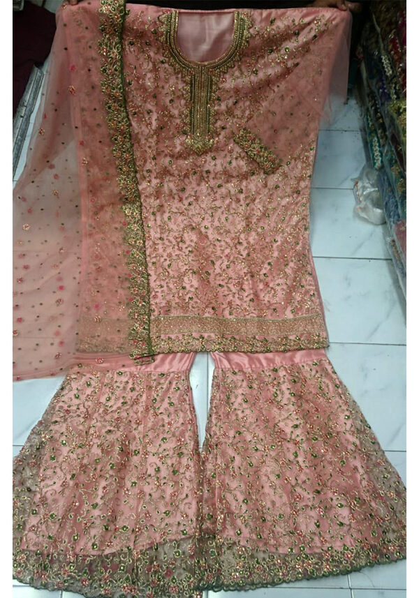 Pink Heavy Embroidered Palazzo