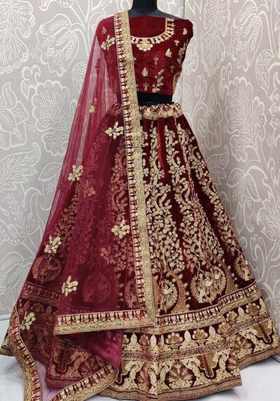 Red Embroidered Velvet Lehenga Choli