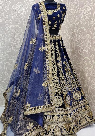 Blue Embroidered Velvet Lehenga Choli